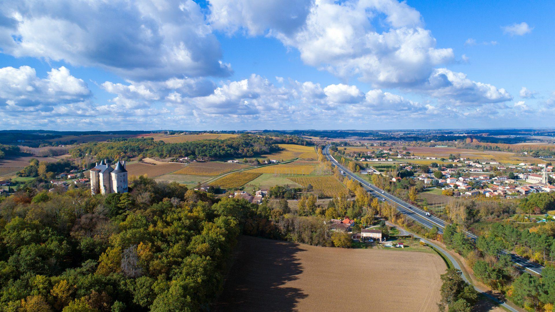 Aerial view of Buzet sur Baise village and castle