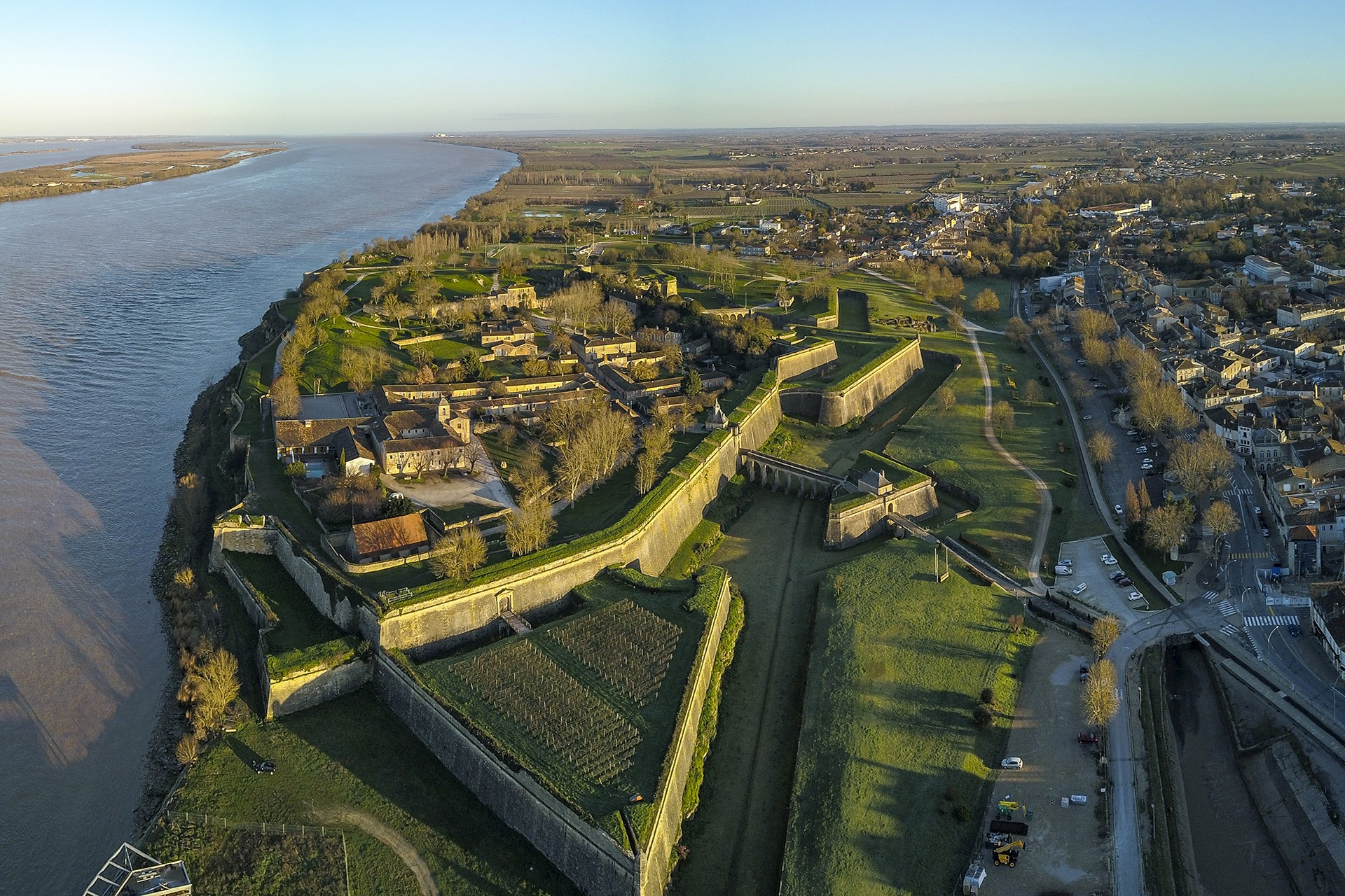 Aerial view, Blaye Citadel, UNESCO world heritage site in Gironde, Aquitaine, France